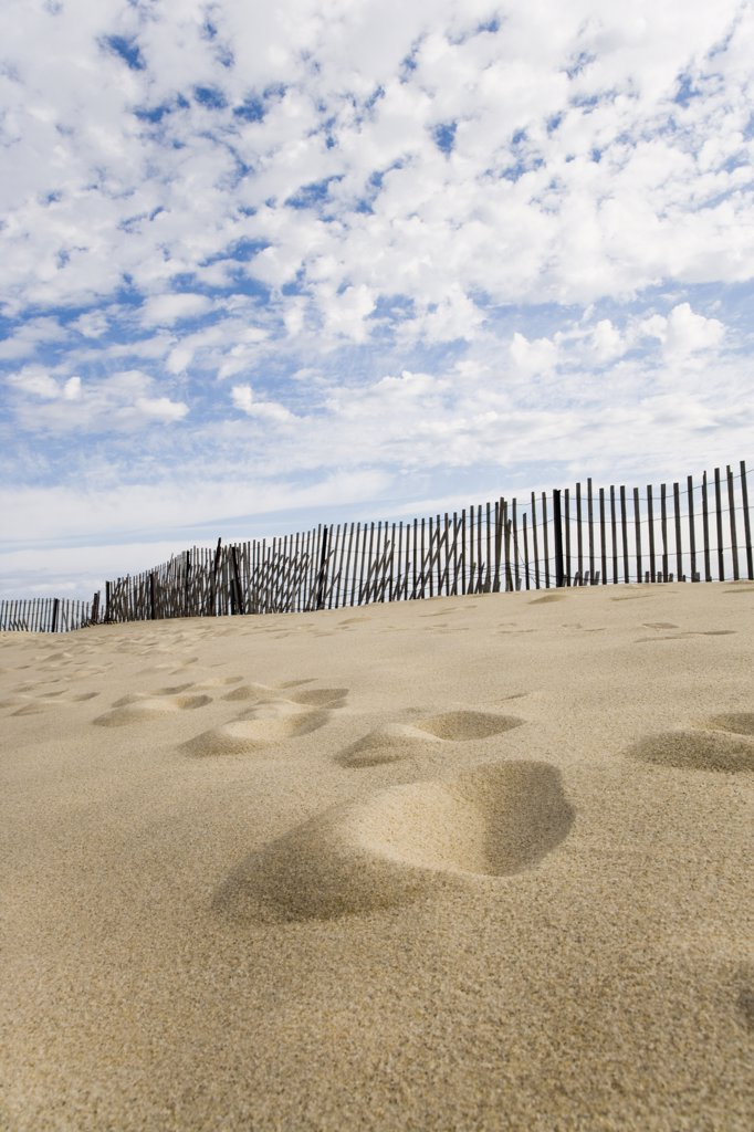 Stock Photo: 1574R-36873 Footprints in sand, Cape Cod, Massachusetts, USA