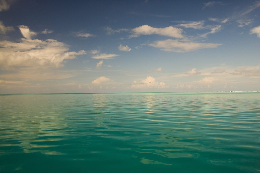Stock Photo: 1574R-36899 Reflection of clouds in the sea, Tahaa, Tahiti, French Polynesia