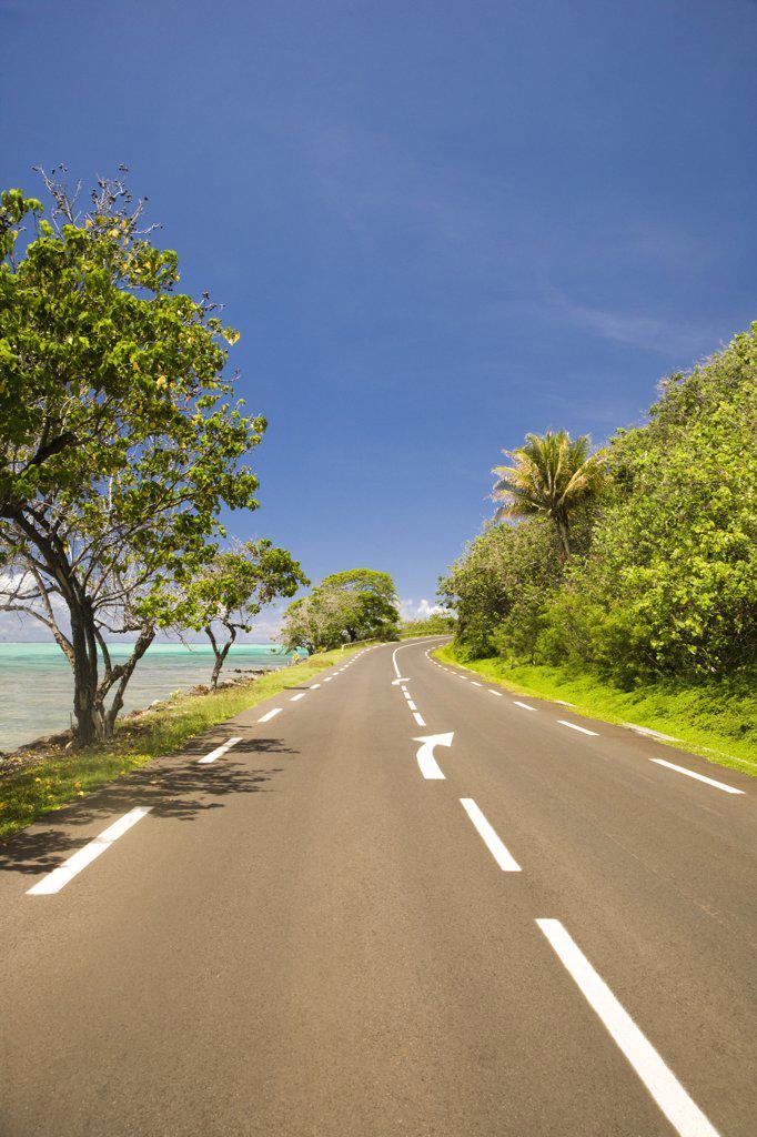 Stock Photo: 1574R-36903 Road along the sea, Moorea, Tahiti, French Polynesia