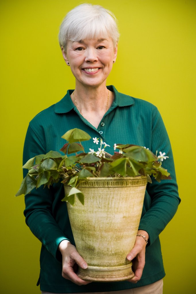 Stock Photo: 1574R-36910 Portrait of a woman holding a potted plant and smiling