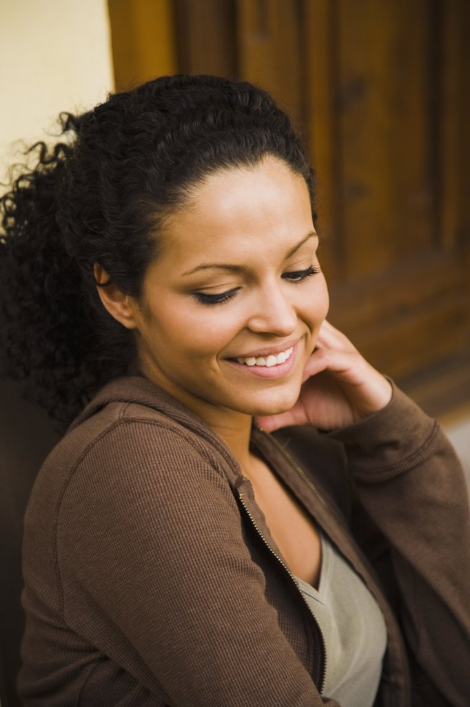 Close-up of a woman smiling : Stock Photo