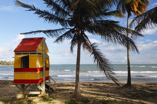 Stock Photo: 1574R-37328 Lifeguard Hut On Arroyo Beach, Puerto Rico, USA