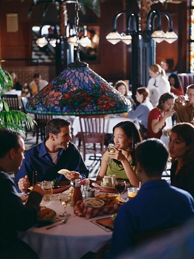 Stock Photo: 1574R-37467 Group of friends having dinner in a restaurant