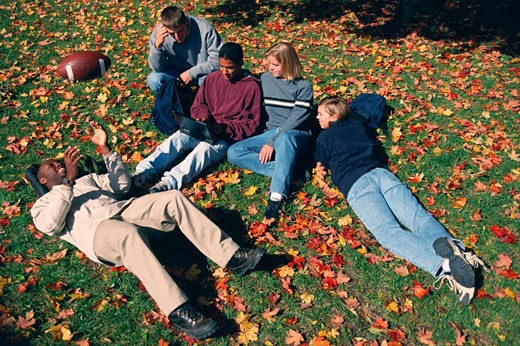 University students lying on grass and fallen leaves : Stock Photo