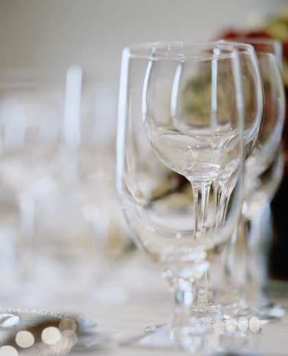 Stock Photo: 1574R-37526 Close-up of empty wine glasses on a table