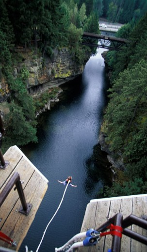 Stock Photo: 1575-03034 Bungi jumping, Vancouver Island, British Columbia, Canada´