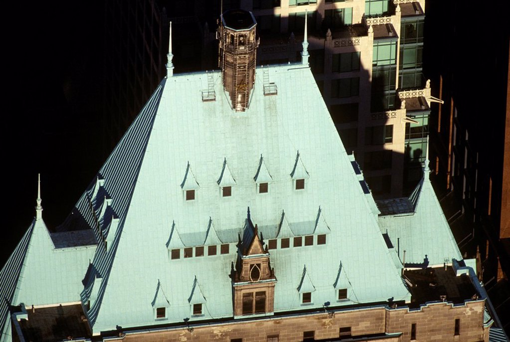 Stock Photo: 1575-10106 aerial of Hotel Vancouver rooftop, British Columbia