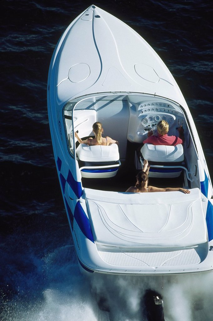 Stock Photo: 1575-6104 Aerial of Power Boating