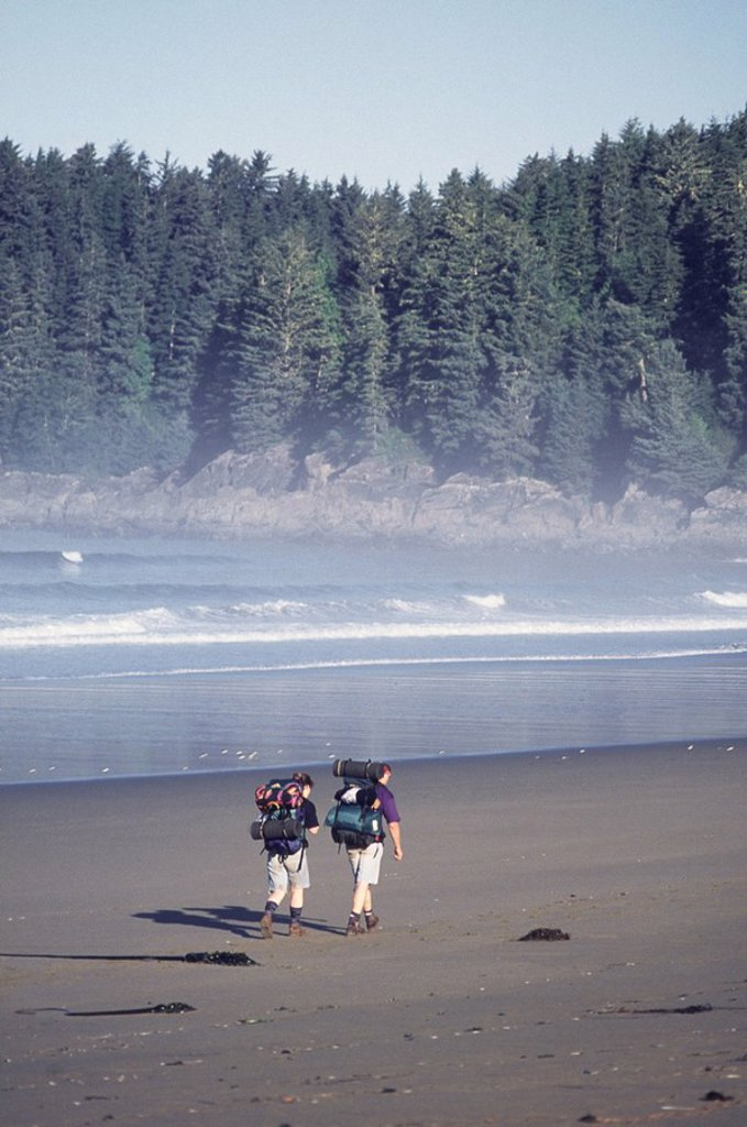 Hikers along West Coast Trail, Vancouver Island, BC : Stock Photo