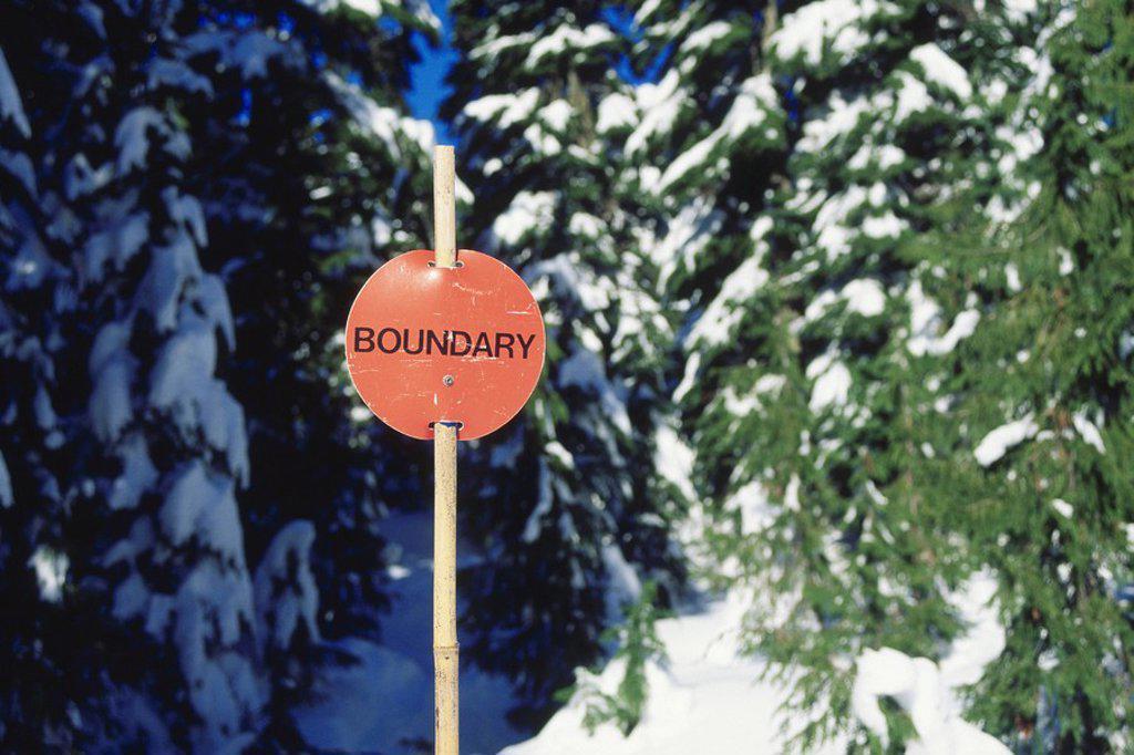 Stock Photo: 1575-6613 Ski area boundry sign