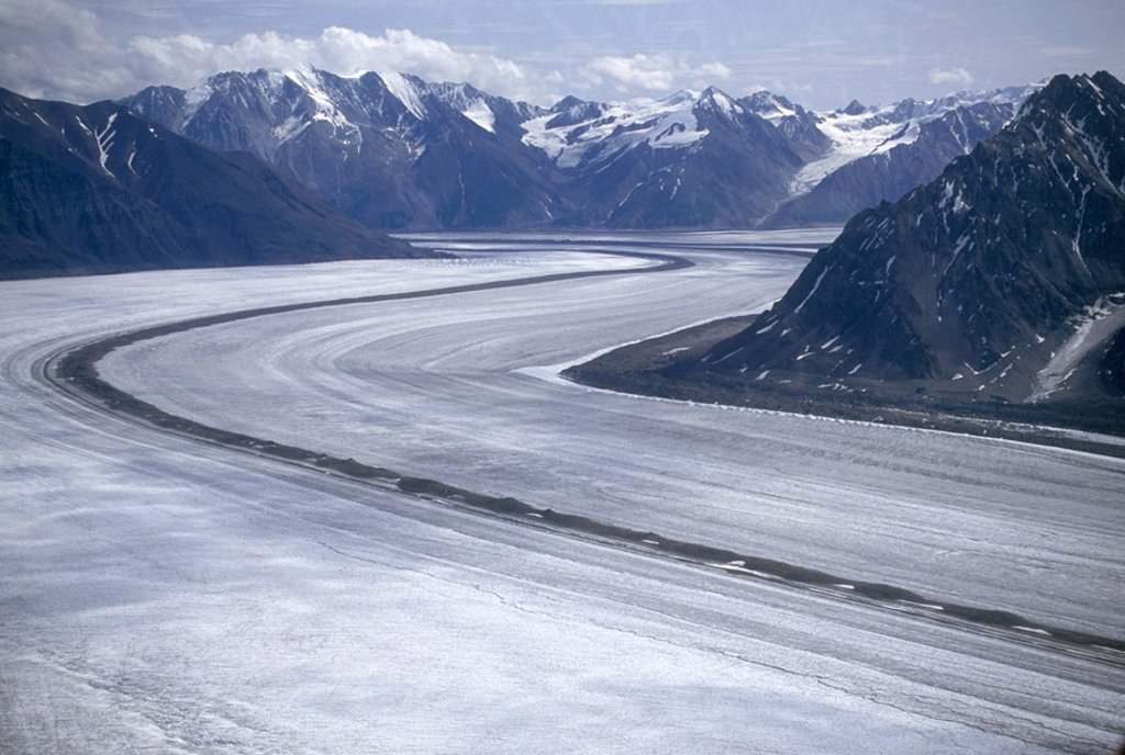 Stock Photo: 1575-8678 Aerial of St. Eilas Range, Slims River & Kaskawulsh Glacier area. Kluane National Park, Yukon, Canada