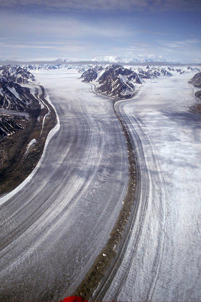 Aerial of St. Eilas Range, Slims River & Kaskawulsh Glacier area. Kluane National Park, Yukon, Canada : Stock Photo