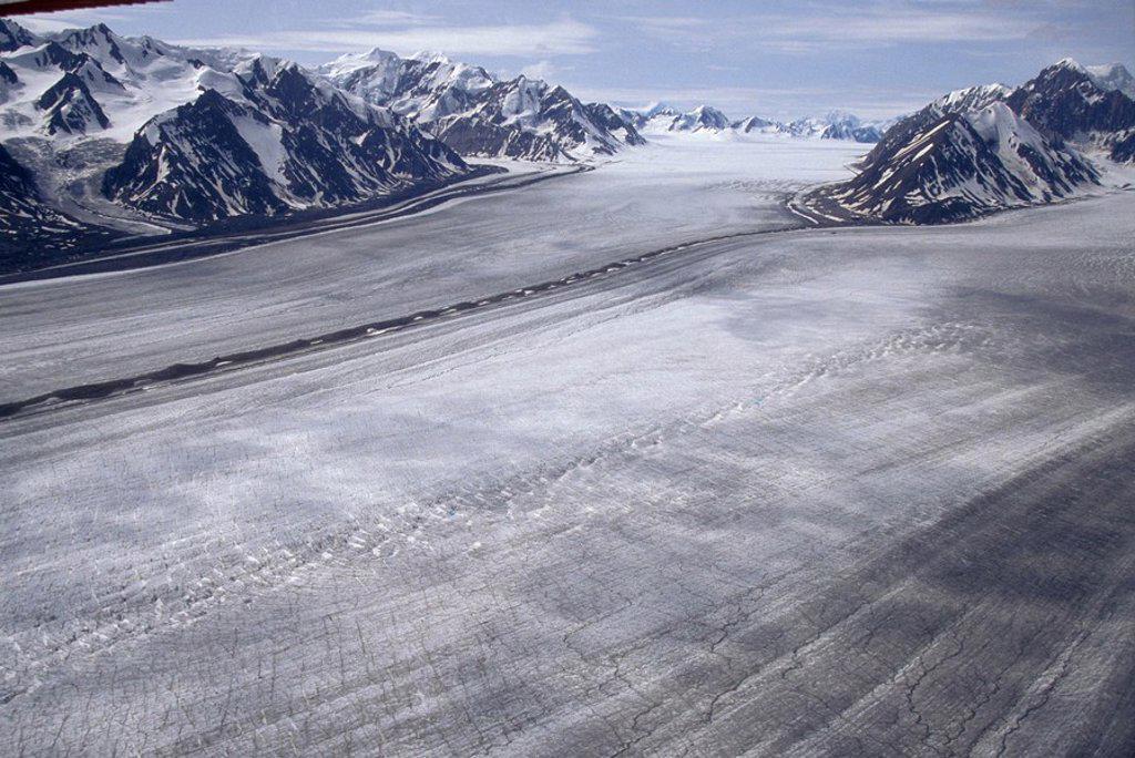 Stock Photo: 1575-8693 Aerial of St. Eilas Range, Slims River & Kaskawulsh Glacier area. Kluane National Park, Yukon, Canada