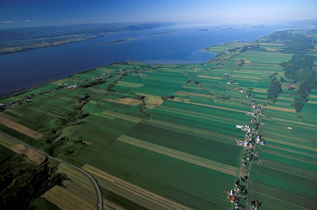 Stock Photo: 1575-9068 Aerial of farms in Quebec, Canada