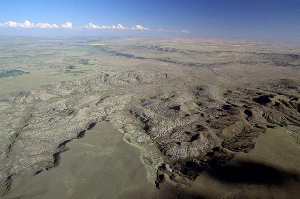 Aerial of Grasslands National Park, Saskatchewan, Canada : Stock Photo