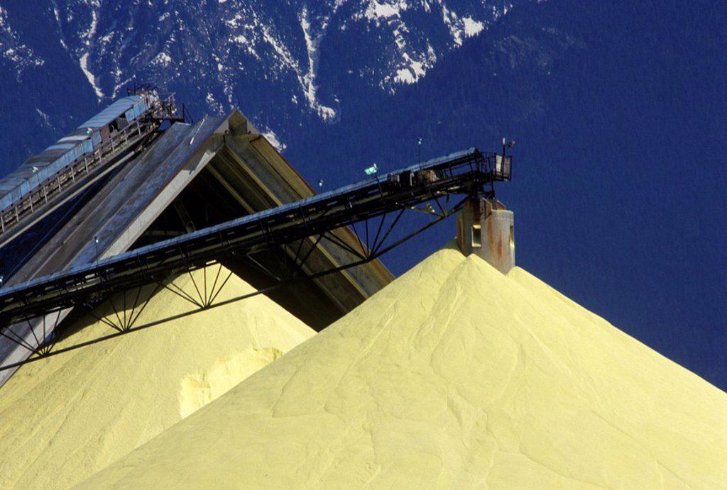 sulphur piles, North Vancouver, British Columbia, Canada : Stock Photo