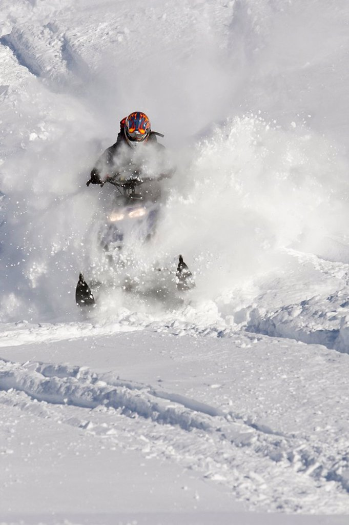 Stock Photo: 1575-9400 Man on snowmobile in deep powder, Whistler, British Columbia, Canada