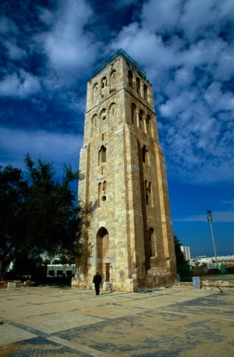Low angle view of a tower, White Tower, Ramla, Israel : Stock Photo