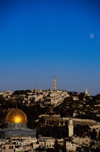 High angle view of buildings, Dome of the Rock, Jerusalem, Israel : Stock Photo