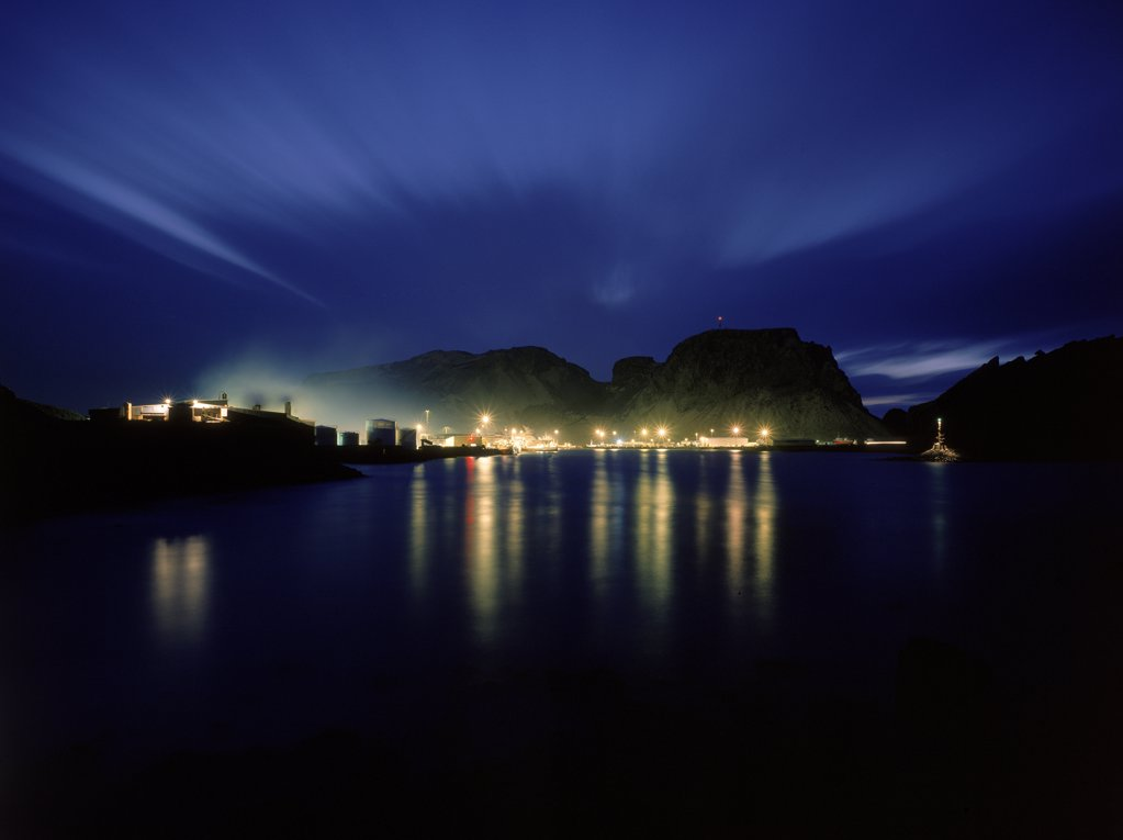 Stock Photo: 1580-141 Reflection of electric lights in water, Heimaey Island, Iceland