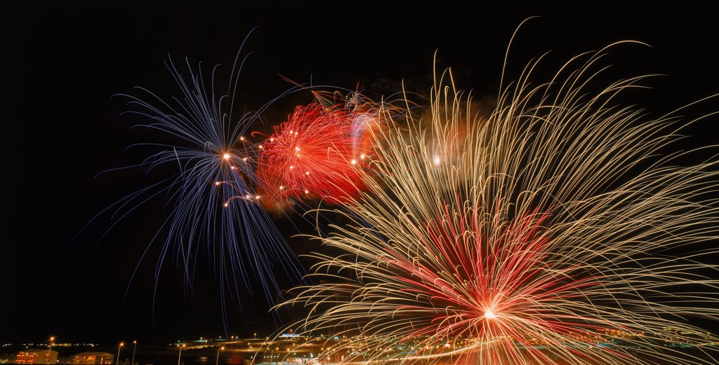 Stock Photo: 1580-434 Fireworks New Year's Eve, Reykjavik, Iceland