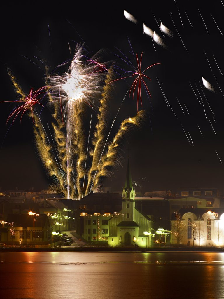 Iceland, Reykjavik, New Years Eve, Fireworks : Stock Photo