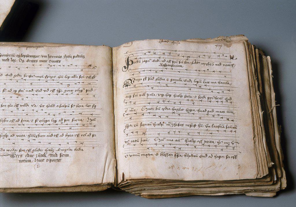 Iceland, Detail of Manuscript describing Sagas, written between 12th and 14th centuries : Stock Photo