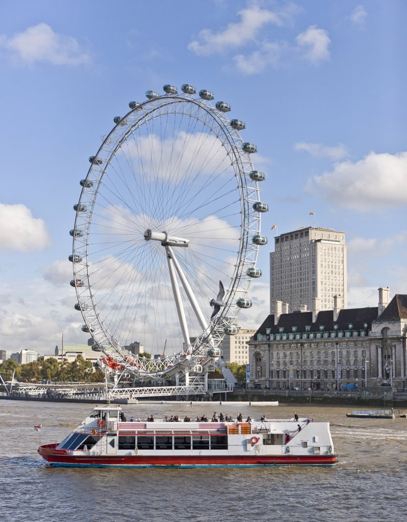 Stock Photo: 1580-634 UK, England, London, Afternoon boat ride on River Thames, with London Eye in background