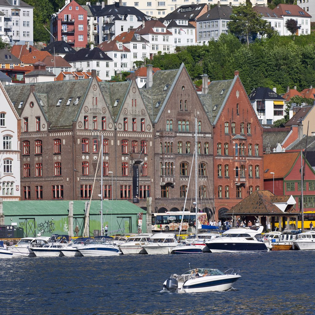 City at the waterfront, Bergen, Hordaland County, Norway : Stock Photo