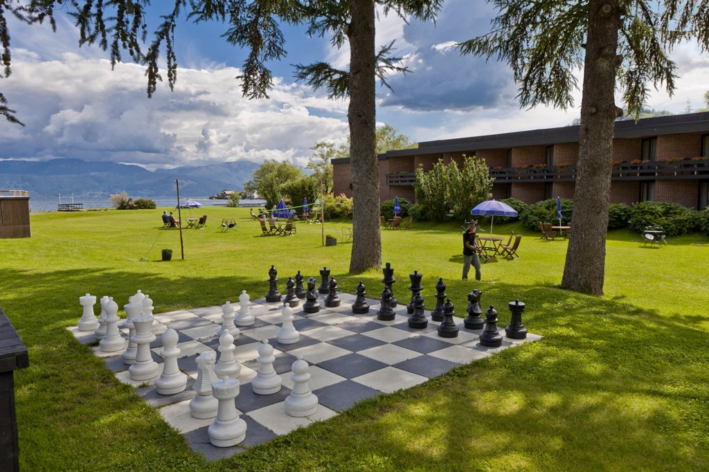 Chess board and garden at hotel, Hardanger, Norway : Stock Photo