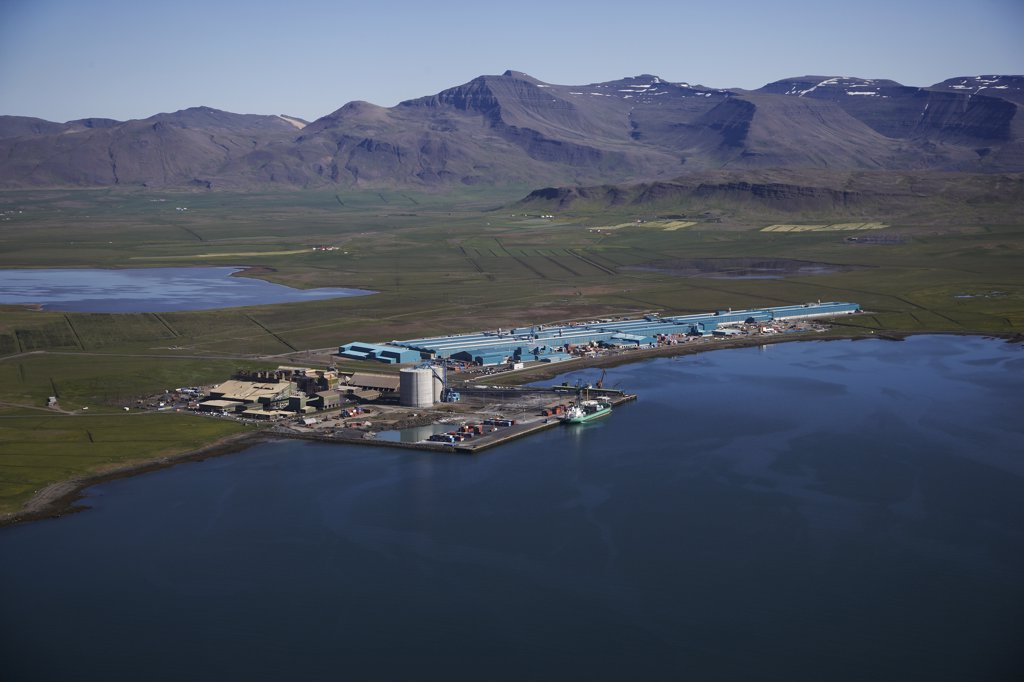 Stock Photo: 1580-705 Aerial view of Nordural Aluminum Smelter, Hvalfjordur, Iceland