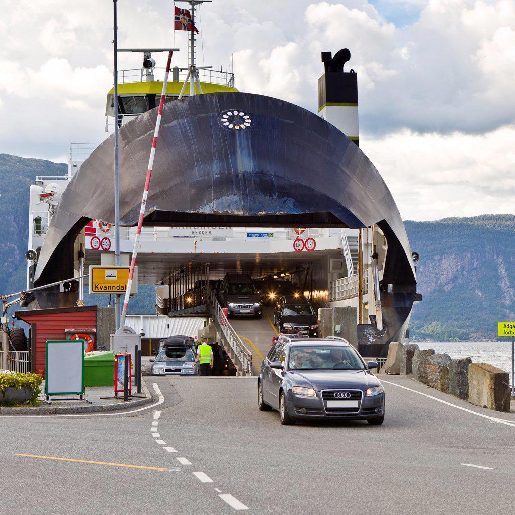Norway, Cars exiting Utne Ferry : Stock Photo