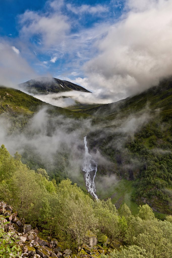 Norway, Geirangerfjord Eagle road, Scenic waterfall : Stock Photo