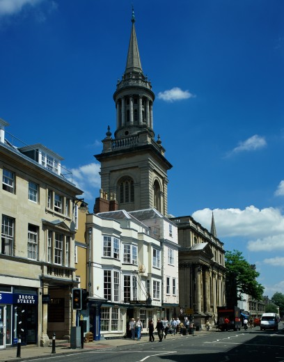 Buildings along a road, High Street, Oxford, England : Stock Photo