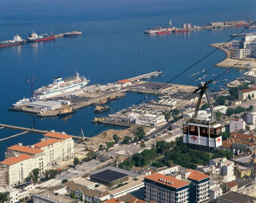 High angle view of a harbor, Gibraltar, Spain : Stock Photo
