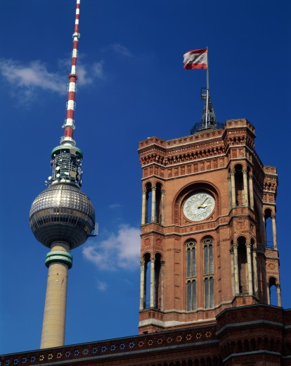 Stock Photo: 1581-166 Low angle view of a government building and a communication tower, Red Town Hall, Berlin, Germany