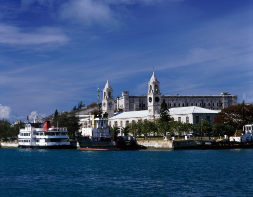 Stock Photo: 1581-196 Ferry moored at a dock, Royal Naval Dockyard, Bermuda