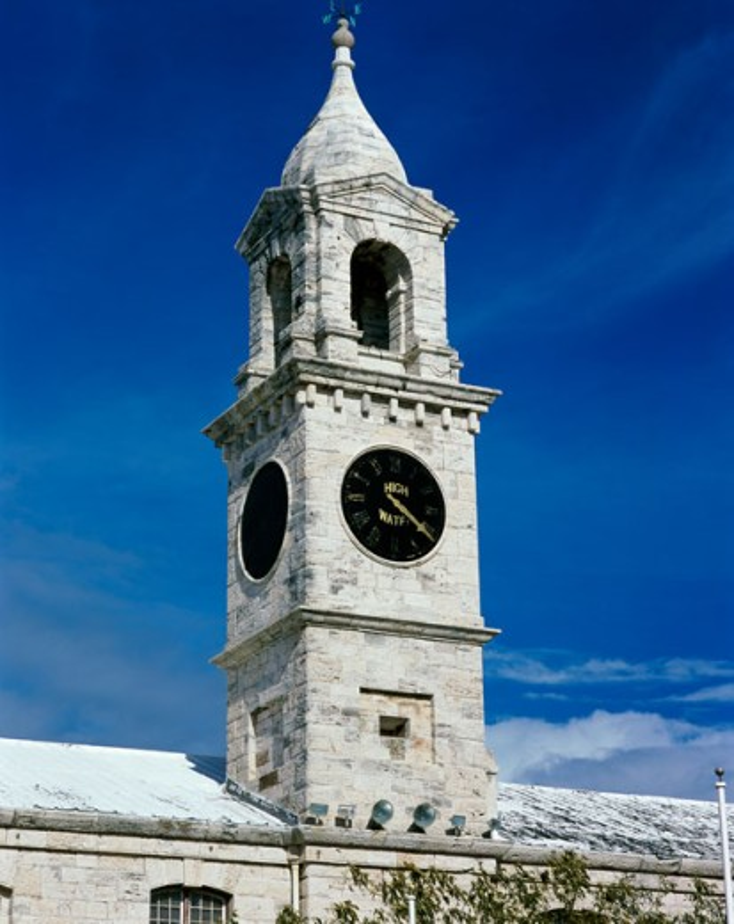 Low angle view of a clock tower, Royal Naval Dockyard, Bermuda : Stock Photo