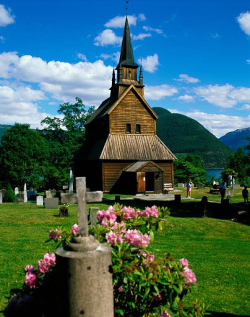 Facade of a church, Kaupanger Stave Church, Kaupanger, Norway : Stock Photo
