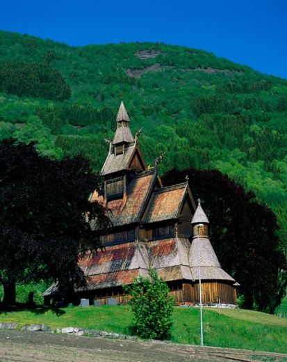 Low angle view of a church, Hopperstad Stave Church, Vik, Norway : Stock Photo
