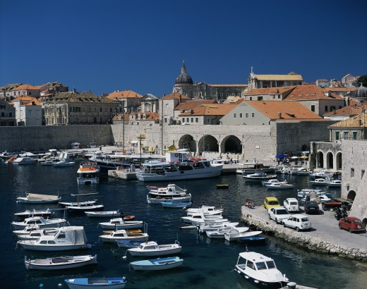 Stock Photo: 1581-219 High angle view of boats moored in a harbor, Dubrovnik, Croatia