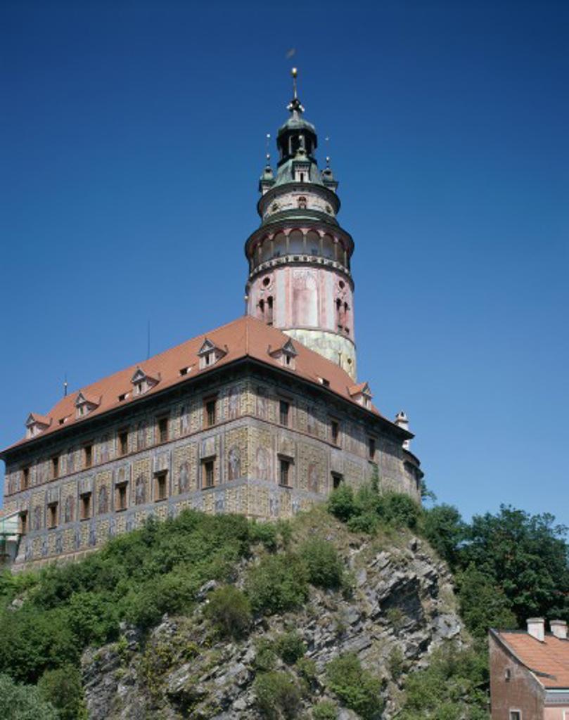 Low angle view of a castle, Cesky Krumlov Castle, Cesky Krumlov, Czech Republic : Stock Photo