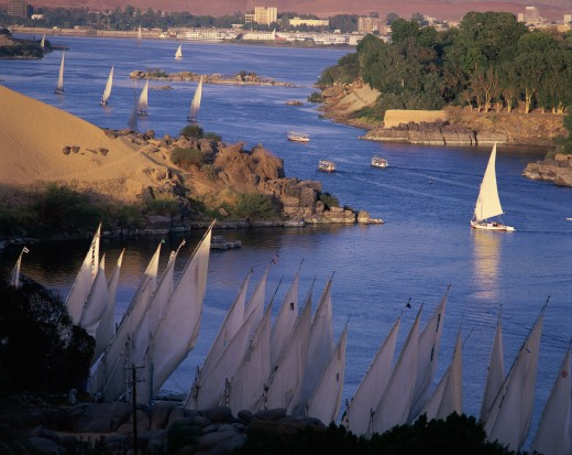 High angle view of boats in a river, Nile River, Aswan, Egypt : Stock Photo