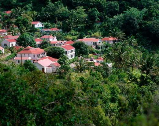 Stock Photo: 1581-251 High angle view of houses in a village, Saba, Netherlands Antilles