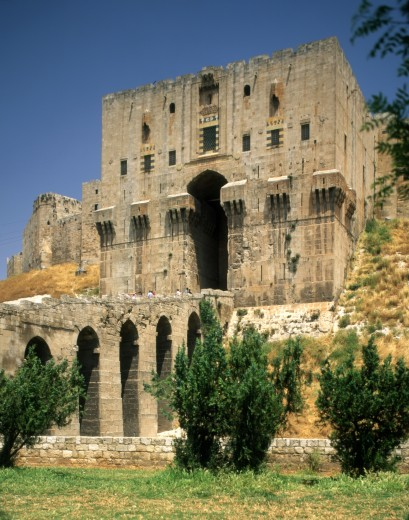 Facade of a citadel, Aleppo, Syria : Stock Photo