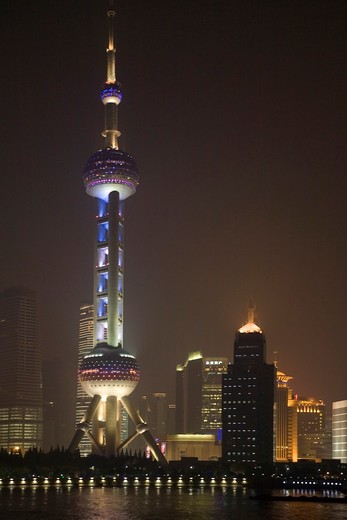 Stock Photo: 1581-351 Communications tower at the waterfront, Oriental Pearl Tower, Huangpu River, Pudong, Shanghai, China