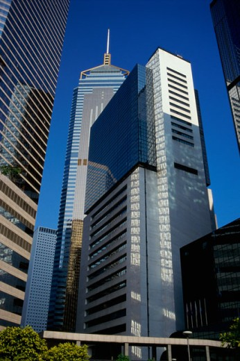 Low angle view of skyscrapers, Hong Kong, China : Stock Photo