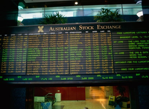 Stock Photo: 1587-130 Low angle view of a stock exchange screen, Australian Stock Exchange, Sydney, New South Wales, Australia