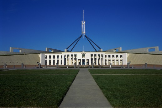 Facade of a government building, Parliament House, Canberra, Australia : Stock Photo