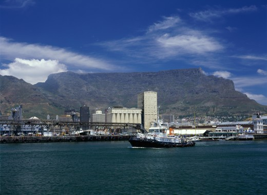 Stock Photo: 1587-149 Ferry in the sea with a mountain in the background, Table Mountain, Cape Town, South Africa